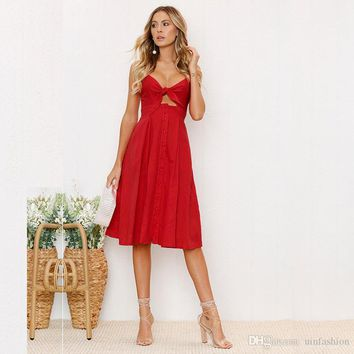 2018 Sexy Bow Backless Button Solid Beach Summer A-Line Dress Women Cotton Deep V Neck Red White Off Shoulder Midi Dresses