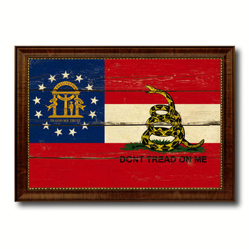 Gadsden Don't Tread On Me Georgia State Military Flag Vintage Canvas Print with Brown Picture Frame Gifts Ideas Home Decor Wall Art Decoration