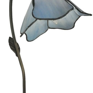 "0-007124>19""h Poelking Blue Lily 1-Light Table Lamp Dark Antique Bronze"