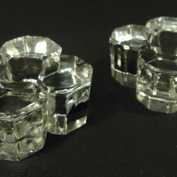 ACC Crystal Taper Candle Holders 3in x 3in x 1 1/2in Qty 2 Vintage Crystal -- Used