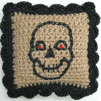 Skull Throw Pillow - Halloween Decor - Goth Accent - Day of the Dead - Samhain - Black Skull Pillow - Goth Pillow - Goth Decor - Handmade