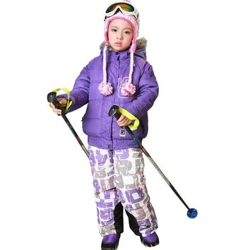 kids clothes boys Ski Wear Waterproof Breathable  Winter Thick Warm Outdoor Mountaineering girls Jacket Ski Suit Skiing Gear