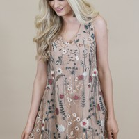 The Ella Embroidered Dress, Nude