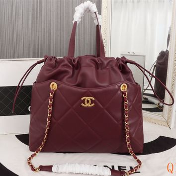 HCXX 19Sep 513 Fashion Large Capacity Tote Shopper Chain Quilted Drastring Bag 37-32-7cm
