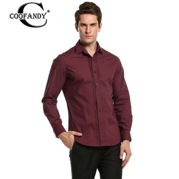 COOFANDY Men's Long-Sleeve Front Pleated Button Down Shirt
