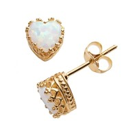 14k Gold Over Silver Lab-Created Opal Heart Crown Stud Earrings (White)