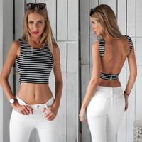Sexy Halter Tops Crops for Summer 2016 Bustier Crop Top Stripe Tank Top Women Cropped Bralet Croptop Haut Femme Sexy