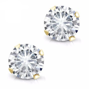 0.60 cttw Round Moissanite 14K Yellow Gold Stud Earrings For Women Moissanite Jewelry