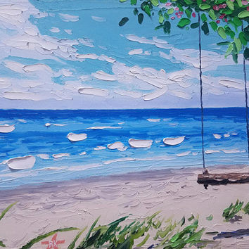 Impressionistic Palette Knife Painting by Ryan Kimba, Original Oils on Canvas, Beach Art, Seascape Painting, Tree Swing and Waves