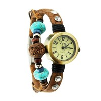 Bracelet Watch with blue turquoise ethnic hemps charms and beads