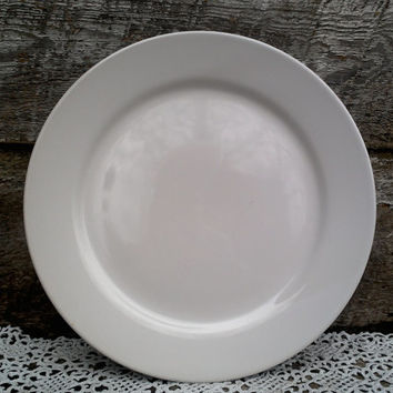 "Antique Plain White Ironstone Dinner Plate, 10 5/8"", Ironstone, White, Large, Charger, Tableware, French Country, Farmhouse Decor, Rustic"
