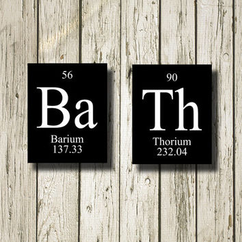 BATH Periodic Table Elements Black White Printable Instant Download Poster Home Decor Wall Art PT001b