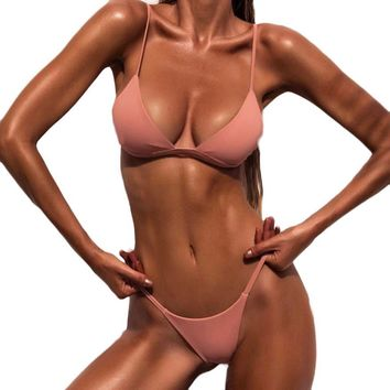 Hot sale Summer Super sexy Low Waist Solid Women Push-Up Padded Bra Beach Bikini Set Swimsuit Swimwear Bathing Suits biquini