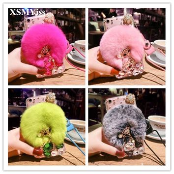 XSMYiss Luxury Bling Diamond Warm Soft Beaver Rabbit Fur Hair Phone Cases For iphone X 5S 5C 6S 7 8 Plus Phone Case