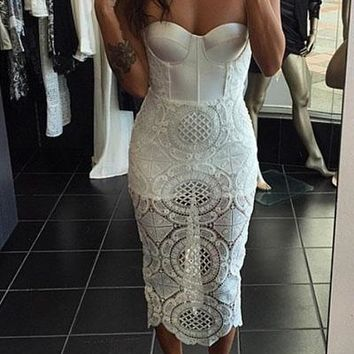 White Cutout Lace Panel Bustier Bandage Dress