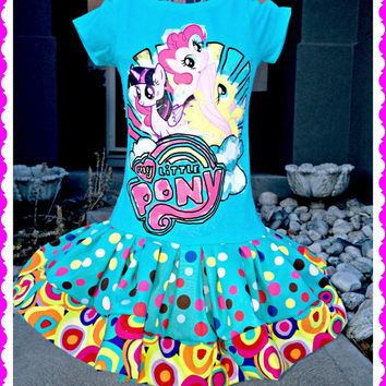 girls My Little Pony Twilight Sparkle Pinkie Pie Fluttershy twirl party Dress size 4 and 10/12