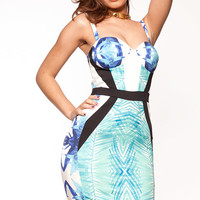 Clothing : Pencil Dresses : 'Loretta' Blue Tropical Printed Bustier Cut Pencil Dress