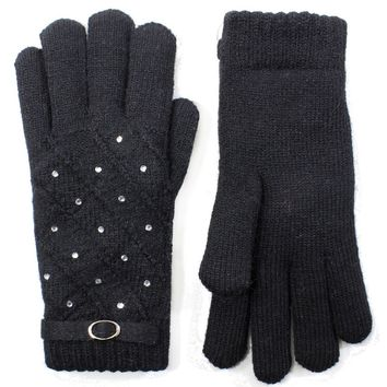 Rhinestone Studded Gloves Lined