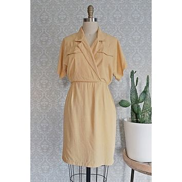 Vintage 1980s Mustard + Easy Shirt Dress