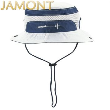 [JAMONT]Children Embroidery Wide Brim Fishing Cap Kids Beach Sun Hat polyester Bucket Hat For Baby Girl Boy Summer Panama Gorras