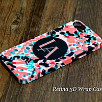 Coral Print Black Monogram iPhone 6s Plus 5S 5 5C 4 Protective Case #932