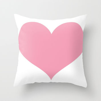 Pink Heart Throw Pillow by Colorful Art