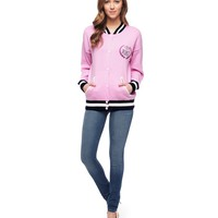 Soft Hush / Azalea Embellished Laurel Varsity Jacket by Juicy Couture,