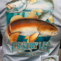 Country Life Outfitters Southern Coast Fish Fishing Vintage Unisex Blue Bright T Shirt