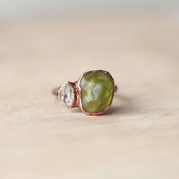 Reserved for Alejandra *** Raw Peridot Ring Herkimer Diamond Ring Green Gemstone Ring August Birthstone Ring For Her Copper Ring Size 6.5