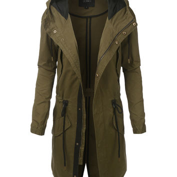 LE3NO Womens Lightweight Long Anorak Parka Jacket with Hoodie
