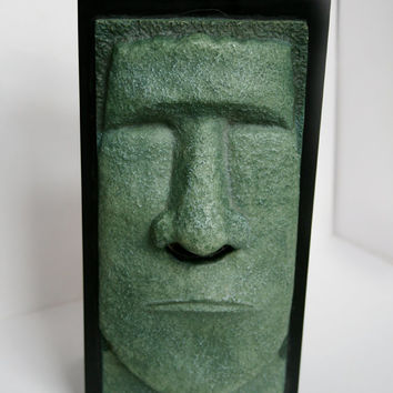 Easter Island Moai statue Kleenex Box Cover, Unique Stone Like Head Kleenex Box.