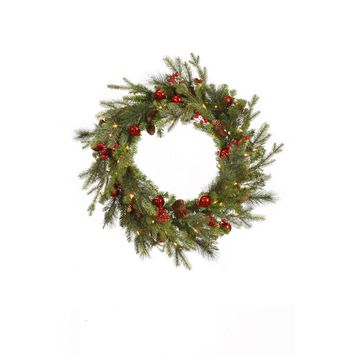 "24"" Pre-lit Red Berry and Ball Ornament Mixed Pine Artificial Christmas Wreath - Clear Lights"