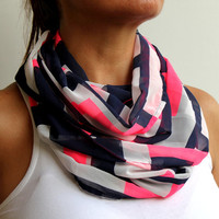 Neon Pink Navy Blue Geometric Infinity Scarf Spring Fashion Women Loop Circle Scarf Chiffon Scarf