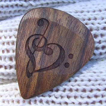 Treble and Bass Clef Heart - Handmade Laser Engraved Exotic Wood Guitar Pick - Caribbean Rosewood