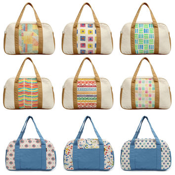 Women's Watercolor Seamless Patterns Printed Canvas Duffel Travel Bags WAS_19