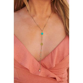 I'm Guilty Lariat Necklace (Turquoise)