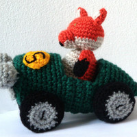 Amigurumi Pattern - Race Car & Fox - Crochet Pattern -