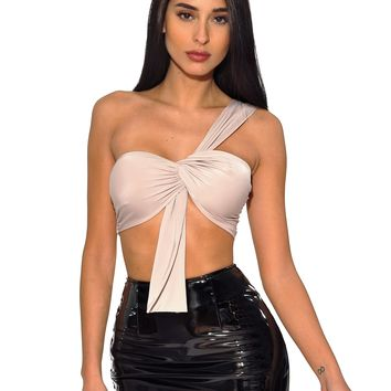 Greta One Shoulder Front Twist Silk Jersey Crop Top