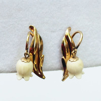 Gold and Ivory Tulip Bell  Flower Earrings- Vintage, Van Dell