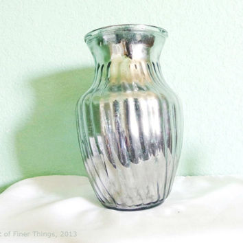 "8"" Lightly Distressed Heavy Ribbed Mercury Glass Vase - Mirror Glass - Bulk"