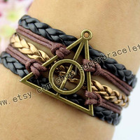 Harry potter bracelet, bronze charm, brown - black - golden brown leather cord, charm, girlfriend and BFF
