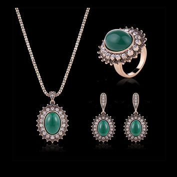 Turkey Series Turquoise Necklace Crystal Ring Retro Earrings Gift Jewelry Set