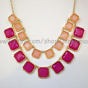 Wedding Jewelry,Bridesmaid Gift,Pink Bubble statement necklace,Beaded Jewelry,Crystal Style Jewelry