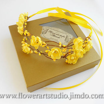 Yellow Flower Girl Crown, Girl Woodland Flower Crown, Baby Flower Crown, Girl Hair Wreath, Fairy Crown, Flower Girl Halo, Infant Headband.