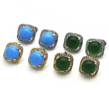 Gold Layered Stud Earring, with Opal and Micro Pave, Golden Tone