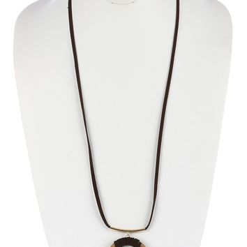 Brown Natural Stone Ring Pendant Necklace