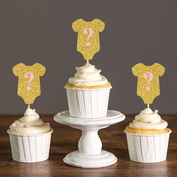 Gold/Silver Glitter & Blue/Pink Gender Reveal Cupcake Toppers for Baby Shower/Kid's Birthday Party Decorations Favors Food Picks