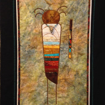 Quilted Wall Hanging Native American with Beads