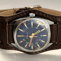 "Vintage men's watch ""ROCKET"" (Raketa), mechanical Soviet wristwatch with blue dial,brand new leather band,great gift for him."