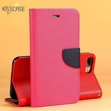 KISSCASE Magnetic Flip Leather Case For iPhone X 8 7 6 6S Plus 5 5S Wallet Pouch Card Holder Dual Color Mobile Phone Shells Capa